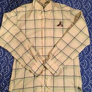 vintage green and navy plaid blouse